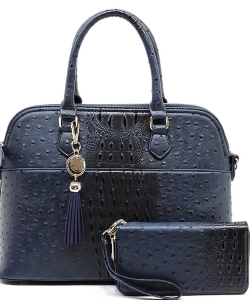 Animal Skin Textured Satchel With Charm Ornament Matching Wallet Set OS1030W NAVY