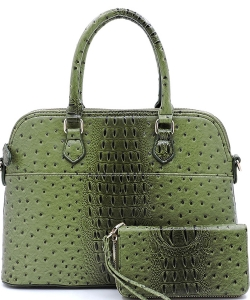 Animal Skin Textured Satchel With Charm Ornament Matching Wallet Set OS1030W OLIVE