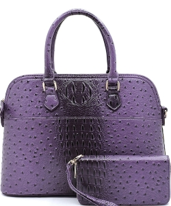 Animal Skin Textured Satchel With Charm Ornament Matching Wallet Set OS1030W PURPLE