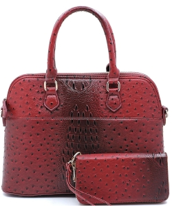 Animal Skin Textured Satchel With Charm Ornament Matching Wallet Set OS1030W RED