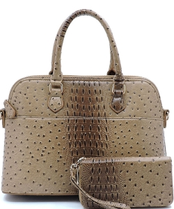 Animal Skin Textured Satchel With Charm Ornament Matching Wallet Set OS1030W STONE