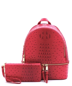 Ostrich Vegan Leather Backpack and Wallet OS1062W Magenta