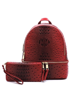 Ostrich Vegan Leather Backpack and Wallet OS1062W Red
