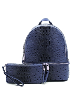 Ostrich Vegan Leather Backpack and Wallet OS1062W NAVY