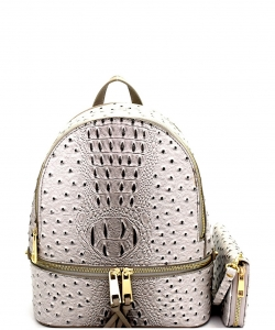 Ostrich Croc Backpack with Wallet OS1082W GRAY