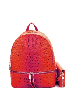 Ostrich Croc Backpack with Wallet OS1082W BURNT ORANGE
