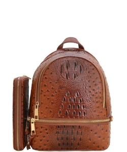 Ostrich Croc Backpack with Wallet OS1082W TAN