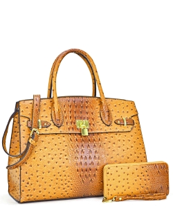 Ostrich embossed Large Satchel with padlock deco and with Free Matching Wallet OS1096 MUSTARD