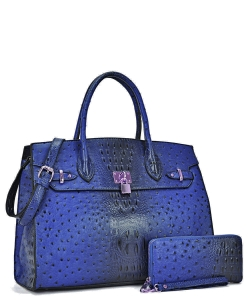 Ostrich embossed Large Satchel with padlock deco and with Free Matching Wallet OS1096 RBLUE