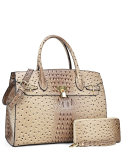 Ostrich embossed Large Satchel with padlock deco and with Free Matching Wallet OS1096 STONE
