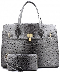 Ostrich Croc Padlock 2-in-1 Satchel OS1096W DGRAY