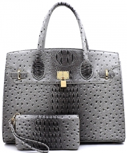 Ostrich Embossed Large Satchel with padlock deco and with Free Matching Wallet  OS1096W DGRAY