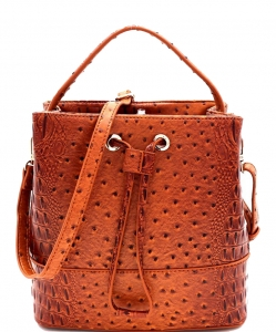 Fashion Faux Ostrich Satchel Handbag OS1097 LIGHT TAN