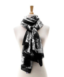 Magazine Cover Collage Scarf OS803 BLACK
