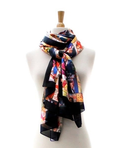 Magazine Cover Collage Scarf OS803 MULTI