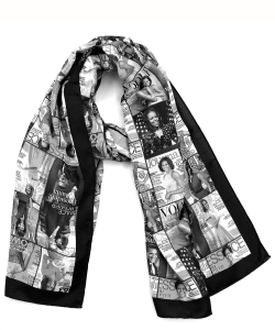 Magazine Cover Collage Felt Scarf OS803F BLACK