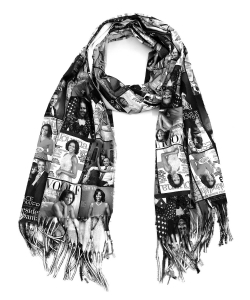 Magazine Cover Collage Felt Scarf OS804W BLACK