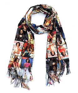 Magazine Cover Collage Felt Scarf OS804W MULTI
