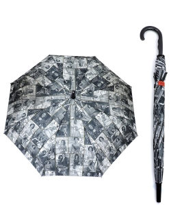 Magazine Cover Collage Auto Umbrella OU501 BLACK