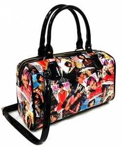 Magazine Print Patent Shoulder Design Handbag PA0033 MULT