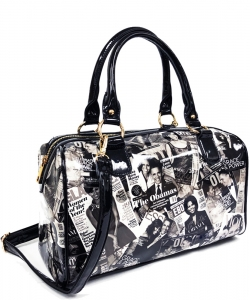 Magazine Print Patent Shoulder Design Handbag PA0034 BLACK