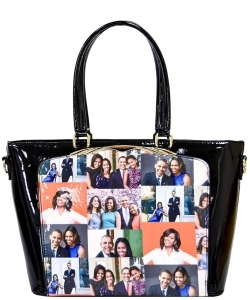 Frame Michelle Obama Fashion  Magazine Print Faux Patent Leather Handbag With Gold Embellishments PA0046 7