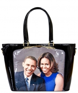 Frame Michelle Obama Fashion  Magazine Print Faux Patent Leather Handbag With Gold Embellishments PA0046 2