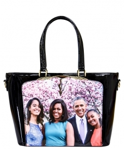 Frame Michelle Obama Fashion  Magazine Print Faux Patent Leather Handbag With Gold Embellishments PA0046 5