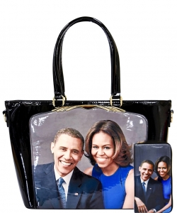 Frame Michelle Obama Fashion  Magazine Print Faux Patent Leather Handbag With Gold Embellishments PA0046 1
