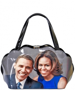 Frame Michelle Obama Fashion  Magazine Print Faux Patent Leather Handbag With Gold Embellishments PA0047 1