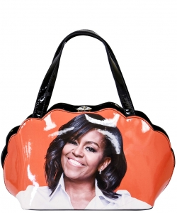 Frame Michelle Obama Fashion  Magazine Print Faux Patent Leather Handbag With Gold Embellishments PA0047 2