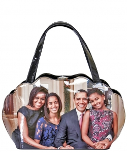 Frame Michelle Obama Fashion  Magazine Print Faux Patent Leather Handbag With Gold Embellishments PA0047 4
