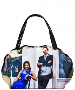 Frame Michelle Obama Fashion  Magazine Print Faux Patent Leather Handbag With Gold Embellishments PA0047 6