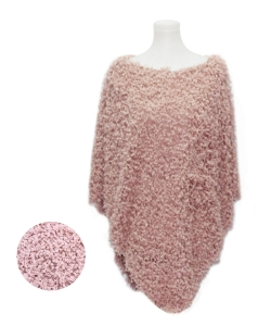 Soft Textured Boucle Faux Fur Poncho PA320002 LIGHT ROSE