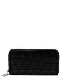 Geometric Checker Zip Around Wallet PG021A BLACK