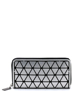 Geometric Checker Zip Around Wallet PG021A SILVER