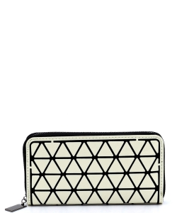Geometric Checker Zip Around Wallet PG021A WHITE