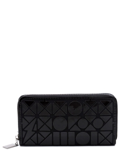 Geometric Checker Zip Around Wallet PG021B BLACK
