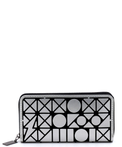 Geometric Checker Zip Around Wallet PG021B SILVER