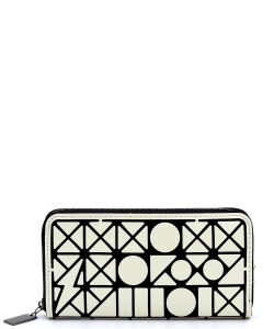 Geometric Checker Zip Around Wallet PG021B WHITE