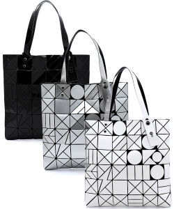 Package of 6 Pieces Geometric Checker Flat Tote PG722B
