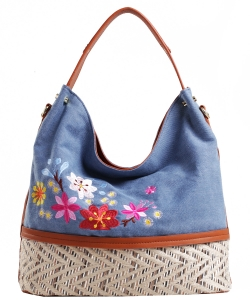 Denim Vegan Flower Hobo Bag PS1547 BLUE