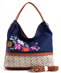 Denim Vegan Flower Hobo Bag PS1547 DARKBLUE