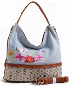 Denim Vegan Flower Hobo Bag PS1547 LIGHTBLUE