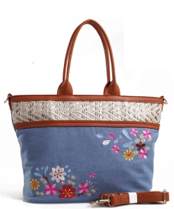 Denim Vegan Flower Hobo Bag PS1548 BLUE