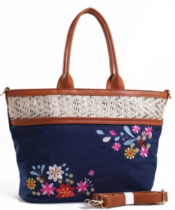 Denim Vegan Flower Hobo Bag PS1548 DARKBLUE