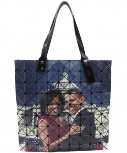 Michelle And Barack Obama Fashion Magazine Print Faux Patent Leather Handbag PS7602 MULTI