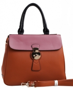 PW-1378 BR/BK/WN Two Tone Fashion Handbag