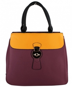 PW-1378 WINE/YELLOW Two Tone Fashion Handbag