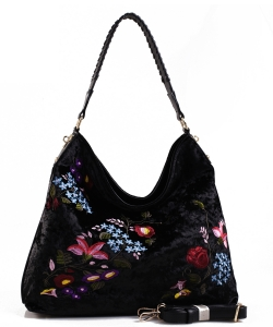 Embroidered Flowers Fashion Handbags PW1539 BLACK